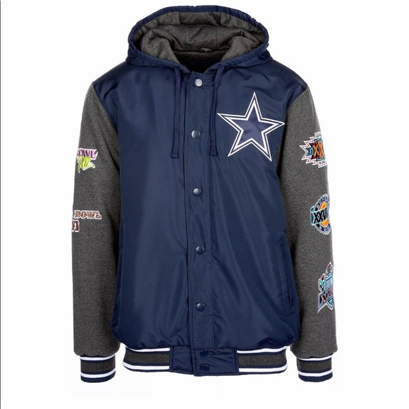Dallas Cowboys Super Bowl Hooded Jacket Mens 2XL 834cf97b6